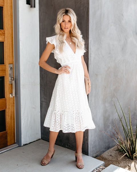 Say Yes Cotton Eyelet Midi Dress