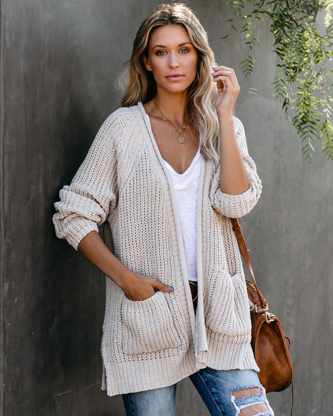 Scavenger Hunt Pocketed Chenille Cardigan - Beige - FINAL SALE
