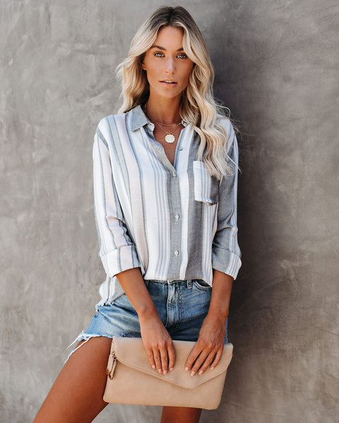 Scenic Route Frayed Button Down Top