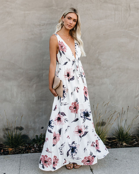 Scented Florals Tie Front Maxi Dress