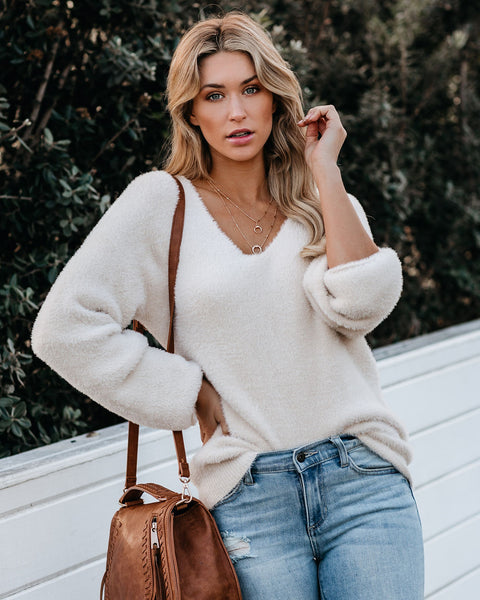 Scheme Of Things Fuzzy V-Neck Sweater - Cream - FINAL SALE