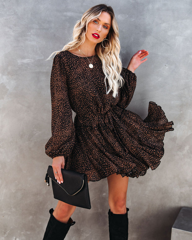 Schultz Leopard Print Ruffle Dress