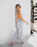 You're All I Sea Striped Jumpsuit - Blue - FINAL SALE