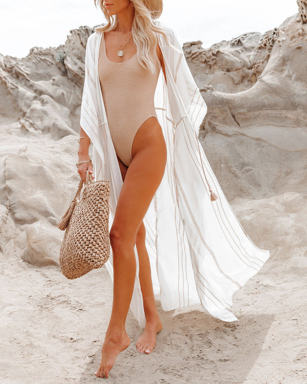 Seacliff Striped Adjustable Kaftan - Off White/ Taupe view 3