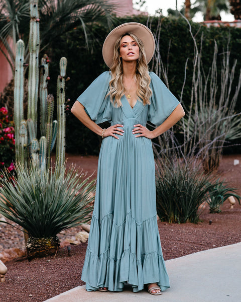 Seafoam Season Pocketed Tiered Maxi Dress