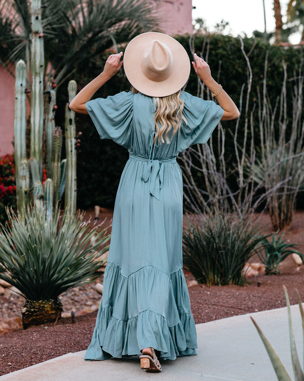 Seafoam Season Pocketed Tiered Maxi Dress - Seafoam