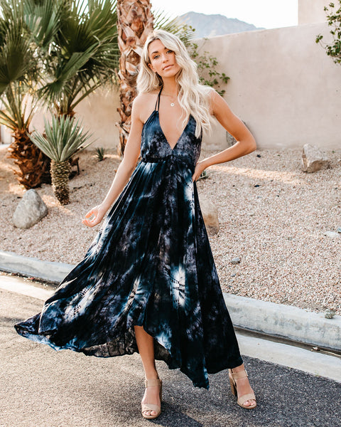 Seaside Tie Dye Adjustable Halter Dress - Black - FINAL SALE