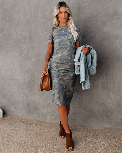See Eye To Eye Ruched Camo Midi Dress