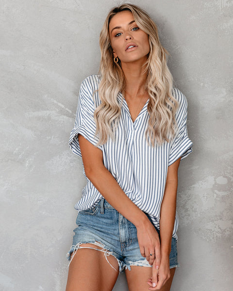 Seek To Sea More Striped Collared Top