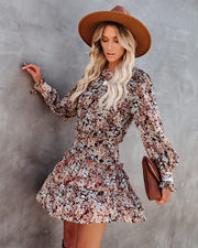 See The Sun Floral Metallic Tiered Dress