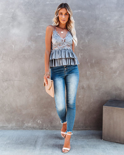Self Love Lace Peplum Tank - Grey