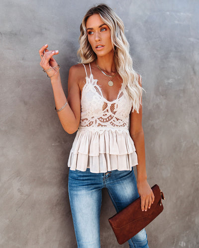 Self Love Lace Peplum Tank - Ivory