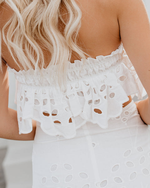 Send Me To Sayulita Cotton Eyelet Strapless Top - White