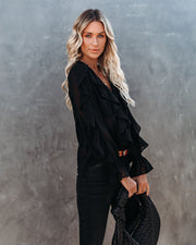 Señorita Button Down Ruffle Blouse - Black