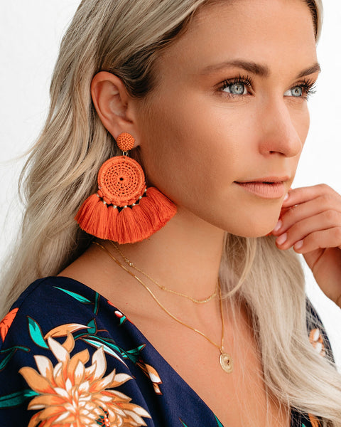 Serefina Beaded Woven Tassel Earrings - Orange