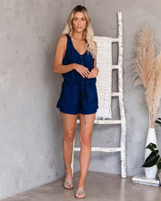 Settle Down Pocketed Button Down Romper - Navy