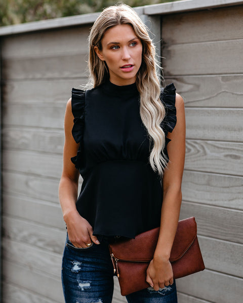 Share Secrets Sleeveless Ruffle Blouse - Black