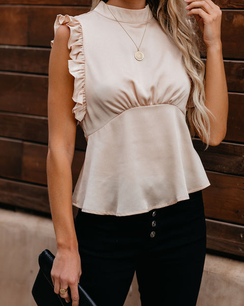 Share Secrets Sleeveless Ruffle Blouse - Champagne