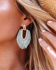 Shashi - Ingram Fringe Earrings - Grey view 1