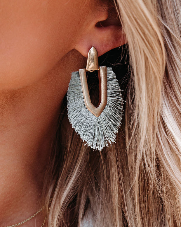 Shashi - Ingram Fringe Earrings - Grey view 3