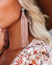 Shashi - Rhythmic Beaded Tassel Earrings - Nude