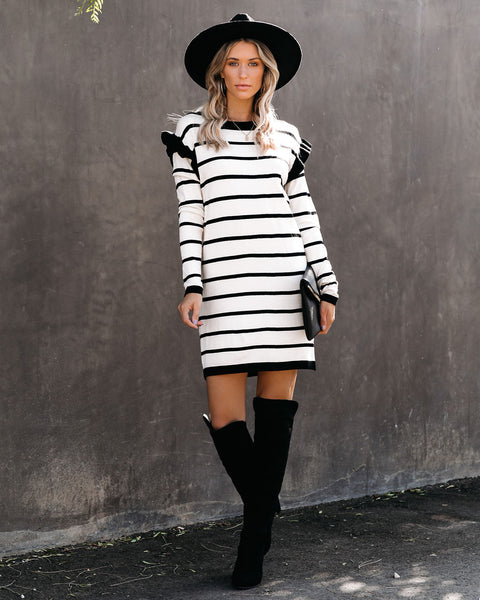 Shaun Striped Ruffle Sweater Dress - FINAL SALE