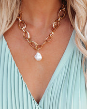 Shayan Chain Link Pearl Necklace view 3