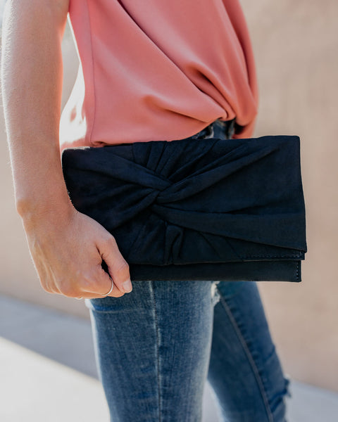 Shay Faux Suede Twist Clutch - Black