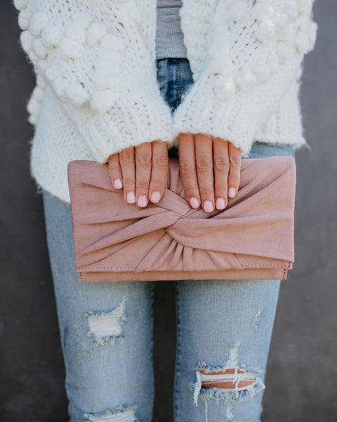 Shay Faux Suede Twist Clutch - Blush