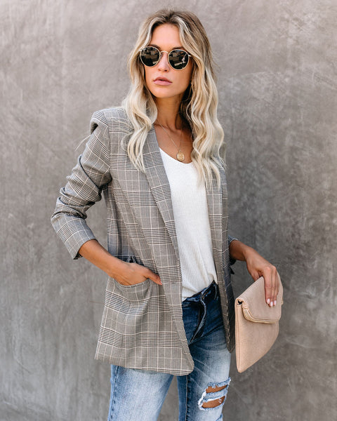 Shelby Pocketed Plaid Blazer