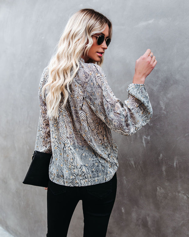 Shelby Printed Metallic Keyhole Blouse view 2