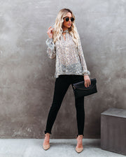 Shelby Printed Metallic Keyhole Blouse view 5