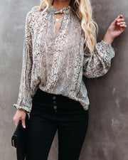 Shelby Printed Metallic Keyhole Blouse view 9