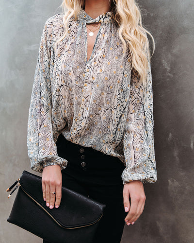 Shelby Printed Metallic Keyhole Blouse