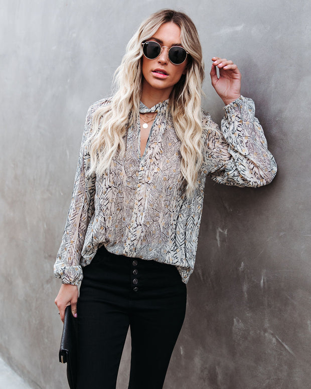 Shelby Printed Metallic Keyhole Blouse view 1