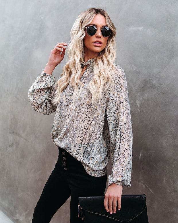 Shelby Printed Metallic Keyhole Blouse view 10