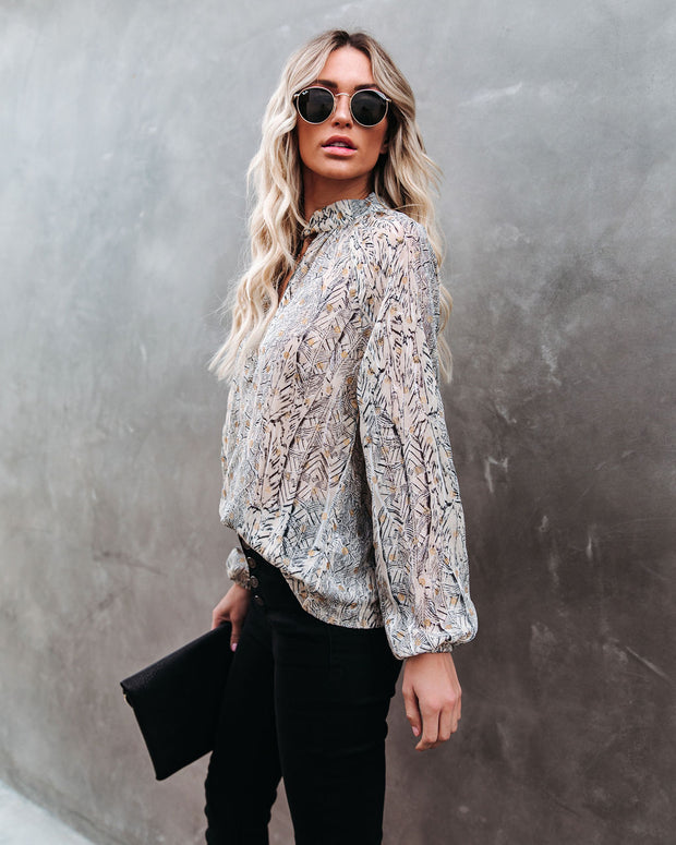 Shelby Printed Metallic Keyhole Blouse view 11