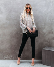 Shelby Printed Metallic Keyhole Blouse view 6