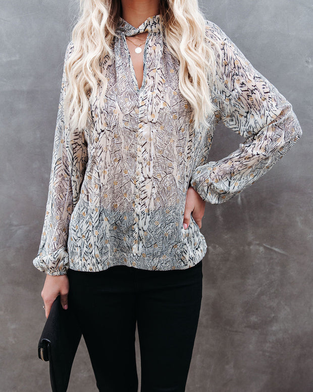 Shelby Printed Metallic Keyhole Blouse view 7