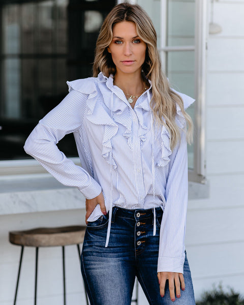 Shepard Striped Button Down Ruffle Top- FINAL SALE
