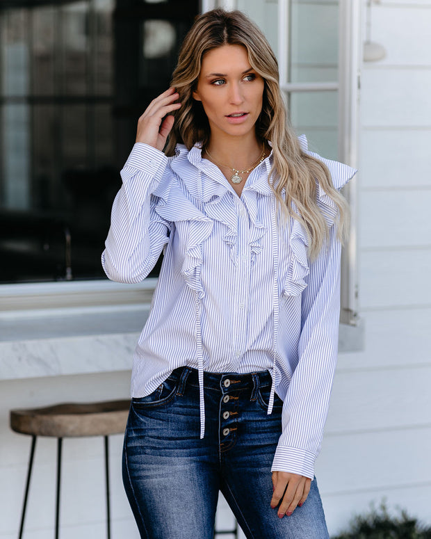 Shepard Striped Button Down Ruffle Top - FINAL SALE