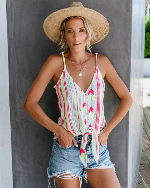 She's Electric Button Down Knit Tie Tank