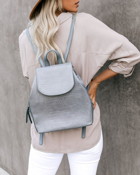 Shia Croc Embossed Backpack - Slate Blue - FINAL SALE