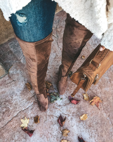 Preston Faux Suede Over The Knee Boot - Taupe