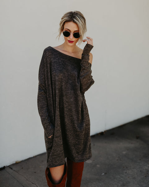 Live In This Pocketed Knit Dress - Olive