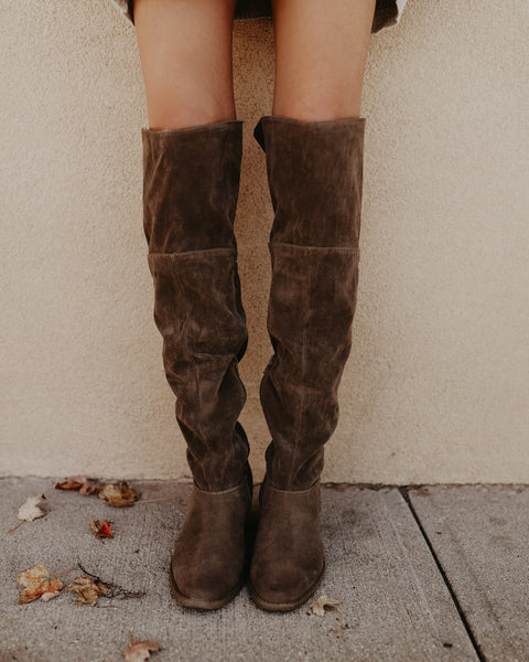 Novela Stacked Over The Knee Boot - Taupe - FINAL SALE