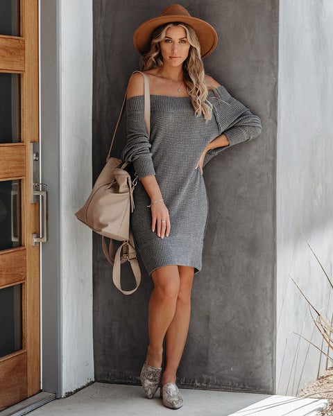 Shoot The Breeze Off The Shoulder Thermal Knit Dress  - FINAL SALE