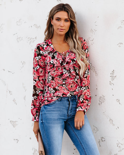Shoppers Paradise Floral Lace Up Ruffle Blouse - FINAL SALE