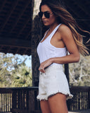 Beach Side Frayed Shorts - Shell
