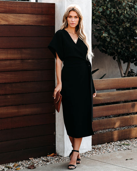 Show Of Hands Wrap Midi Dress